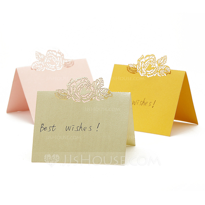 Roses Laser Cut Pearl Paper Place Cards (set of 12)