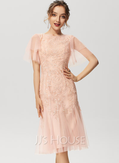 Trumpet/Mermaid Scoop Neck Knee-Length Tulle Lace Cocktail Dress With Sequins