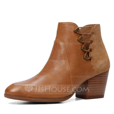Women's Leatherette Chunky Heel Boots Ankle Boots With Zipper shoes