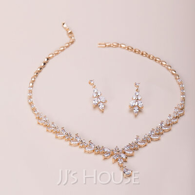 Ladies' Elegant Copper/Zircon Cubic Zirconia Jewelry Sets For Bride
