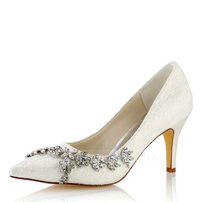 المرأة ربط الحذاء حرير مثل الساتان كعب ستيليتو مضخات مع بلور