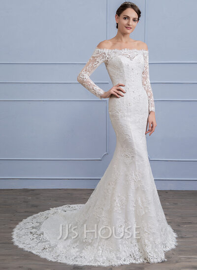 Trumpet Mermaid Off The Shoulder Court Train Lace Wedding Dress With Beading Sequins