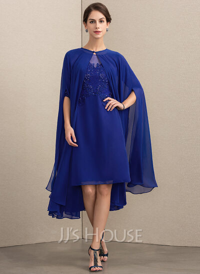 22f3273be5d Sheath Column Scoop Neck Knee-Length Chiffon Lace Mother of the Bride Dress  With