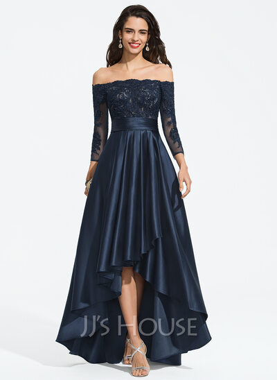A-Line Off-the-Shoulder Asymmetrical Satin Prom Dresses With Ruffle Sequins