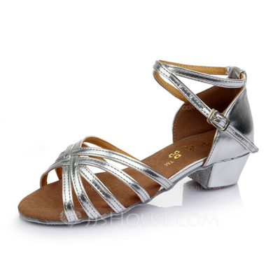 Kids' Leatherette Heels Sandals Latin With Ankle Strap Dance Shoes