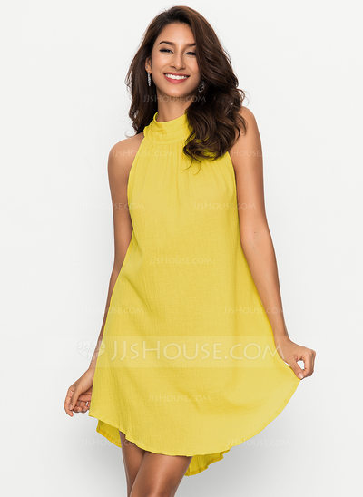 Linen With Resin solid color Above Knee Dress