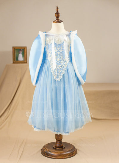 A-Line/Princess Tea-length Pageant Dresses - Satin/Tulle Short Sleeves Scoop Neck With Flower(s) (Wrap included)