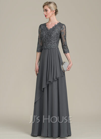 d865a67307b A-Line Princess V-neck Floor-Length Chiffon Lace Mother of the Bride ...