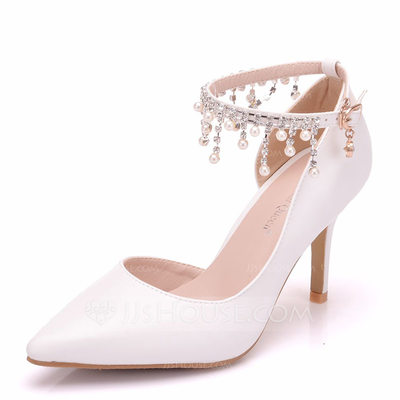 Women's Leatherette Spool Heel Closed Toe Pumps With Tassel