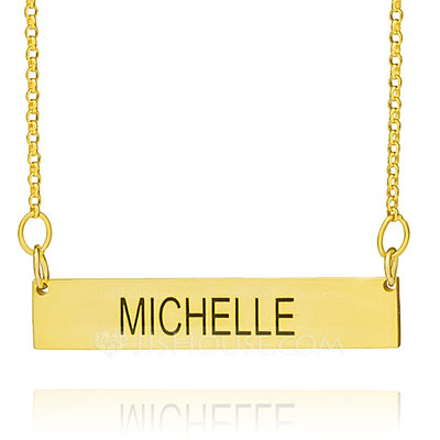 Christmas Gifts For Her - Custom 18k Gold Plated Silver Engraving/Engraved Bar Necklace Nameplate