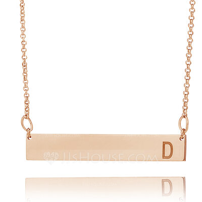 Christmas Gifts For Her - Custom 18k Rose Gold Plated Bar Initial Engraved Necklace