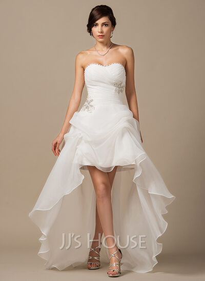 A-Line/Princess Sweetheart Asymmetrical Organza Wedding Dress With ...