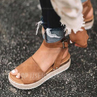 Leatherette Flat Heel Sandals Platform With Others shoes