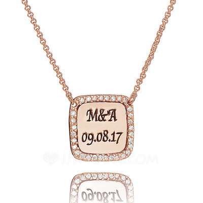Christmas Gifts For Her - Custom 18k Rose Gold Plated Silver Engraved Necklace With Diamond