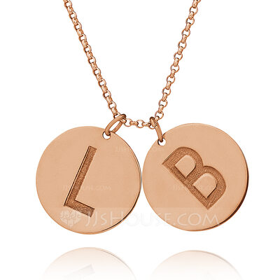 Christmas Gifts For Her - Custom 18k Rose Gold Plated Silver Letter Coin Two Initial Necklace Circle Necklace