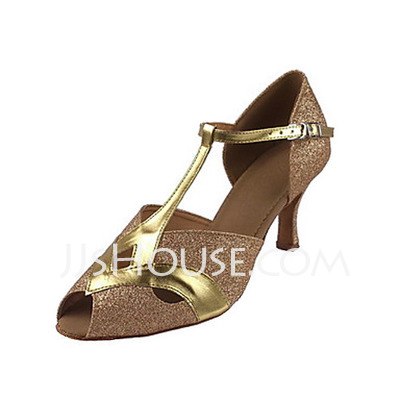 Women's Leatherette Sparkling Glitter Heels Sandals Latin Ballroom With T-Strap Dance Shoes
