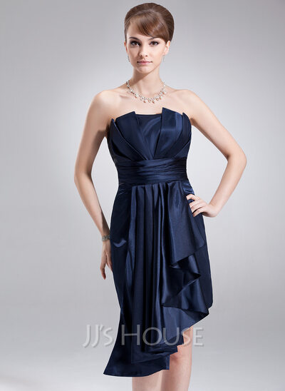 Sheath/Column Scalloped Neck Asymmetrical Charmeuse Holiday Dress With Cascading Ruffles