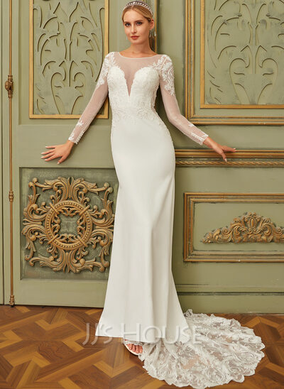 Trumpet/Mermaid Illusion Court Train Chiffon Lace Wedding Dress With Sequins