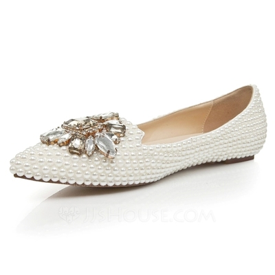 Women's Patent Leather Flat Heel Closed Toe Flats With Imitation Pearl