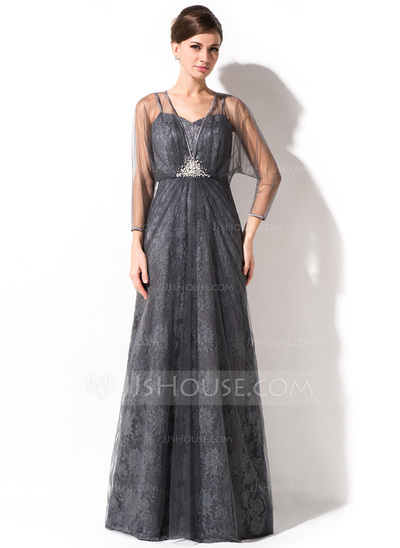 A-Line/Princess Sweetheart Floor-Length Tulle Lace Mother of the Bride Dress With Ruffle Beading Sequins
