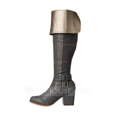 Women's Leatherette Chunky Heel Knee High Boots With Buckle shoes