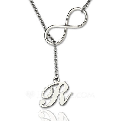 Custom Silver Infinity Name Necklace Initial Necklace - Valentines Gifts