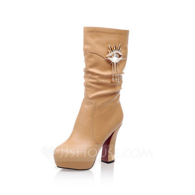 Women's Leatherette Stiletto Heel Platform Mid-Calf Boots With Rhinestone Ruched shoes