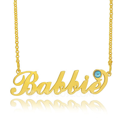 [Free Shipping]Christmas Gifts For Her-Custom 18k Gold Plated Silver Name Carrie Birthstone Necklace With Kids Names