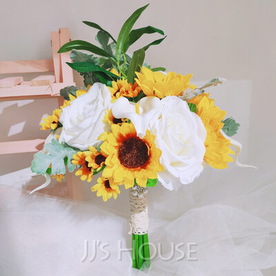Unique Sunflower Hand-tied Satin/Lace/Imitation Pearl/Silk Flower/Artificial Flower Bridal Bouquets/Bridesmaid Bouquets (Sold in a single piece) - Bridal Bouquets/Bridesmaid Bouquets