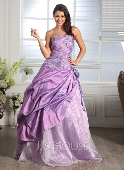 Ball-Gown Sweetheart Floor-Length Taffeta Organza Quinceanera Dress With Ruffle Beading Appliques Lace Flower(s)