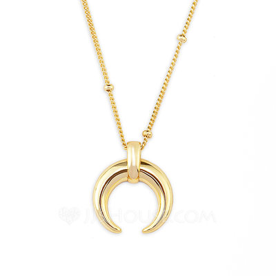 Christmas Gifts For Her - 18k Gold Plated Silver Moon Pendant Necklace