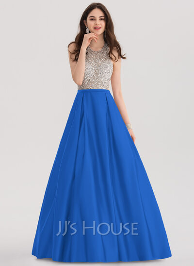 2ec910292f3 Ball-Gown Halter Floor-Length Satin Prom Dresses With Beading Sequins