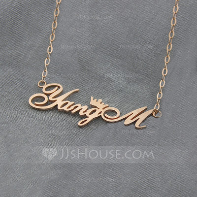 Personalized Unisex Hottest Silver Plated/Rose Gold Plated Name Necklaces Necklaces For Bridesmaid/For Mother