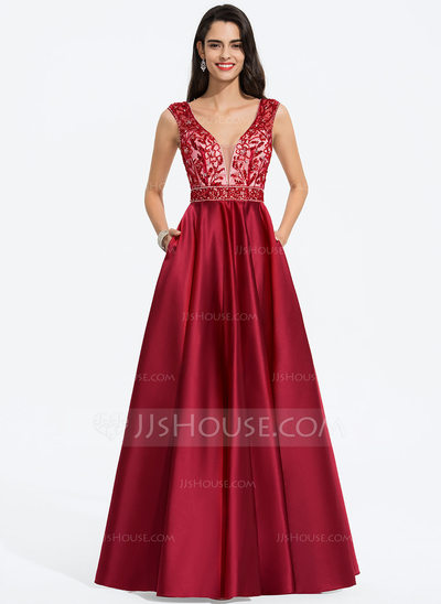 A-Line V-neck Floor-Length Satin Prom Dresses With Beading Sequins Pockets