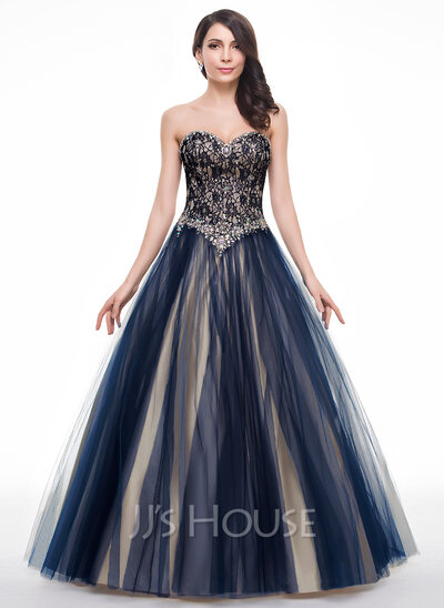 Ball-Gown Sweetheart Floor-Length Tulle Lace Prom Dress With Beading Sequins