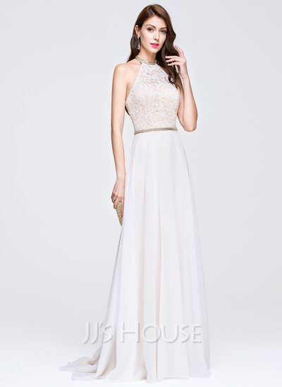 A-Line/Princess Scoop Neck Sweep Train Chiffon Lace Wedding Dress With Beading