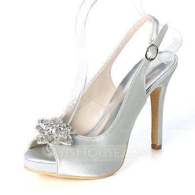 المرأة حرير مثل الساتان كعب ستيليتو تو زقزقة منصة مضخات صنادل أحذية خفيفة مع مشبك حجر الراين