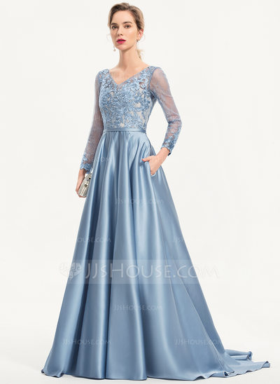 A-Line V-neck Sweep Train Satin Evening Dress With Sequins Pockets