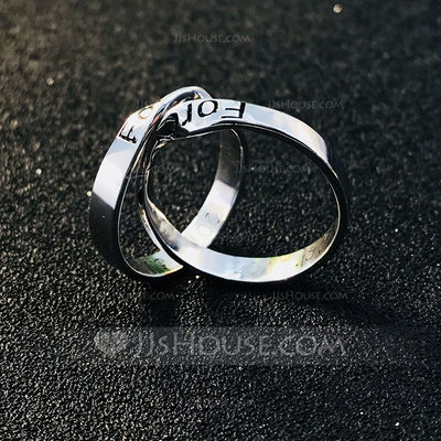 Personalized Ladies' Exquisite 925 Sterling Silver With Round Engraved Rings For Friends/For Couple