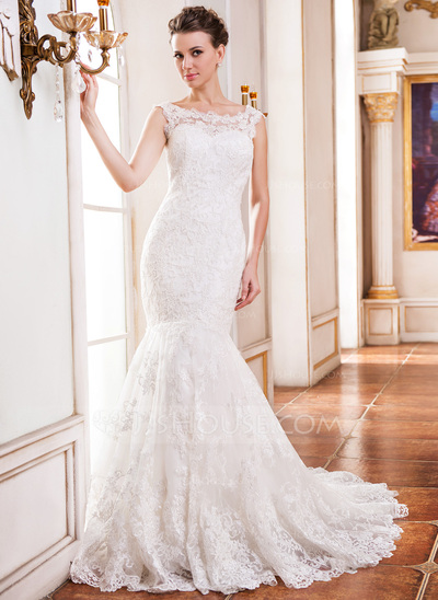 Trumpet/Mermaid Scoop Neck Chapel Train Tulle Lace Wedding Dress With Beading Sequins