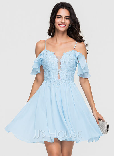 A-Line Sweetheart Short/Mini Chiffon Homecoming Dress With Lace Beading Sequins Cascading Ruffles