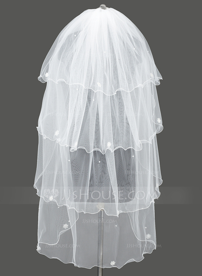Four-tier Scalloped Edge Waltz Bridal Veils With Satin Flower/Faux Pearl