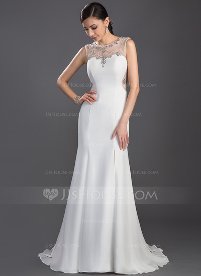Trumpet/Mermaid Scoop Neck Sweep Train Chiffon Prom Dress With Beading Split Front