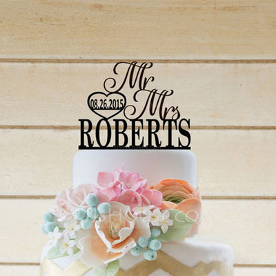 "Personalized ""Mr. & Mrs.""/Name And Date Acrylic/Wooden Cake Topper"