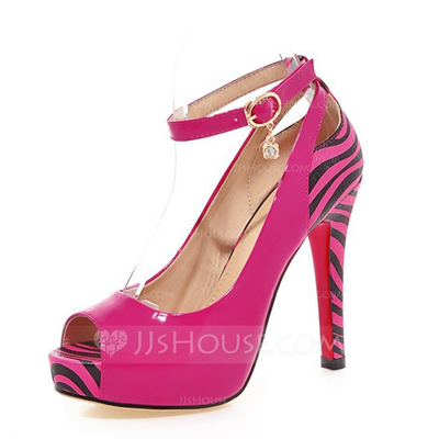 Women's Leatherette Stiletto Heel Pumps Peep Toe With Buckle Animal Print Split Joint shoes