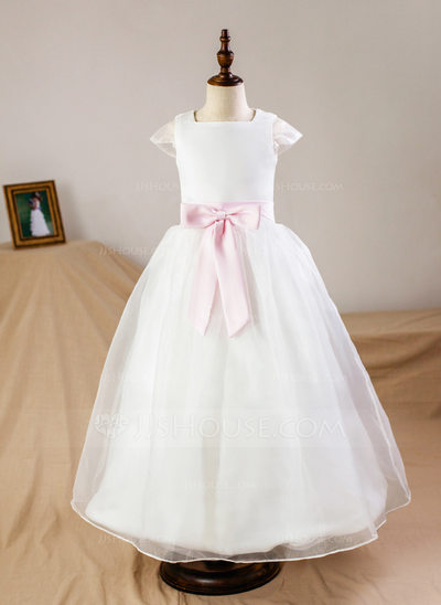 Ball Gown Floor-length Flower Girl Dress - Organza/Satin Sleeveless Square Neckline With Sash/Bow(s) (Petticoat NOT included)