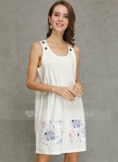 Cotton With Button/Print Above Knee Dress