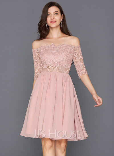 Scalloped Neck Off-the-Shoulder Knee-Length Chiffon Cocktail Dress