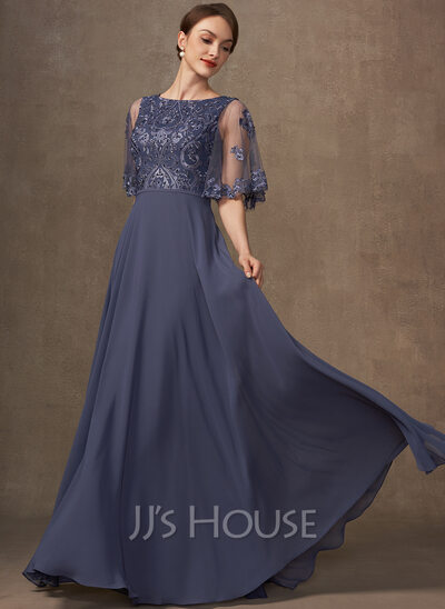 A-Line Scoop Neck Chiffon Lace Mother of the Bride Dress With Beading Sequins