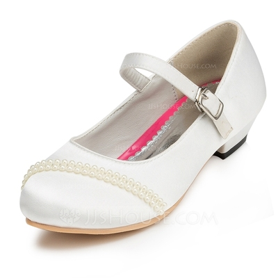 Girl's Satin Low Heel Closed Toe Pumps With Buckle Imitation Pearl
